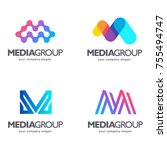 set of vector logo design. m... | Shutterstock .eps vector #755494747