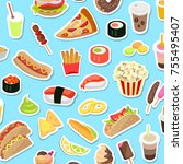 fast and junk kinds of food...   Shutterstock . vector #755495407