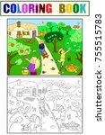 kids cartoon on the theme of... | Shutterstock . vector #755515783