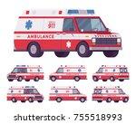 ambulance car van rescue set....   Shutterstock .eps vector #755518993