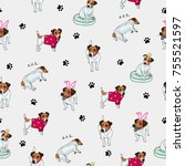 Stock vector seamless pattern with image of a funny cartoon puppies vector illustration 755521597