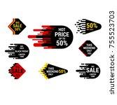 sale sticker set with hand...   Shutterstock .eps vector #755523703