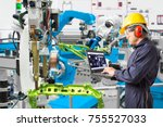engineer using laptop computer... | Shutterstock . vector #755527033