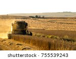 harvest time at sunset | Shutterstock . vector #755539243
