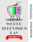 world television day | Shutterstock .eps vector #755542243