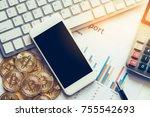 bitcoin and its business class... | Shutterstock . vector #755542693