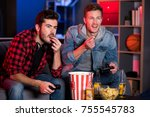 win him over. two pleasant guys ... | Shutterstock . vector #755545783