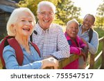 portrait of senior friends... | Shutterstock . vector #755547517