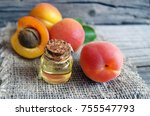 the apricot kernel oil in a... | Shutterstock . vector #755547793