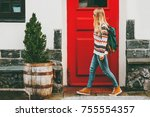 young woman with backpack... | Shutterstock . vector #755554357