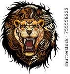lion king face  | Shutterstock . vector #755558323