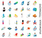 man icons set. isometric style... | Shutterstock .eps vector #755566243