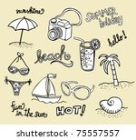 collection of beach doodles  ... | Shutterstock .eps vector #75557557