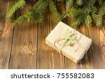 gift box in kraft paper  brunch ... | Shutterstock . vector #755582083