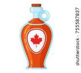 maple syrup bottle. sweet syrup ... | Shutterstock .eps vector #755587837