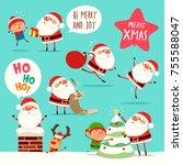 collection of christmas santa... | Shutterstock .eps vector #755588047