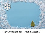 artificial snow frame on blue... | Shutterstock . vector #755588053