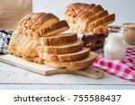 fresh homemade  baked bread and ...   Shutterstock . vector #755588437