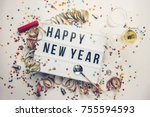 happy new year displayed on a... | Shutterstock . vector #755594593