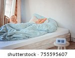 joint sleep with children   the ... | Shutterstock . vector #755595607