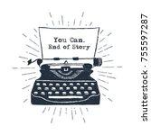 hand drawn retro typewriter... | Shutterstock .eps vector #755597287