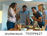lunch with friends | Shutterstock . vector #755599627