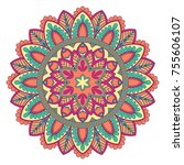 ethnic ornamental mandala.... | Shutterstock .eps vector #755606107