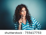 think. portrait close up of... | Shutterstock . vector #755617753
