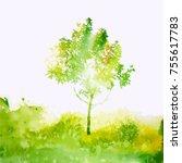 watercolor green tree. vector | Shutterstock .eps vector #755617783