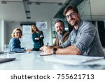 happy group of businesspeople... | Shutterstock . vector #755621713