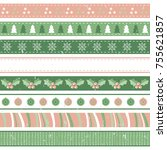 vintage seamless holiday ribbons | Shutterstock .eps vector #755621857
