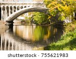 white bridge over a small river.... | Shutterstock . vector #755621983