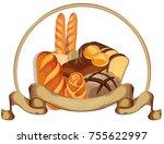 bread logo for bakery shop.... | Shutterstock . vector #755622997