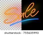 sale neon sign on on dark and... | Shutterstock .eps vector #755635993