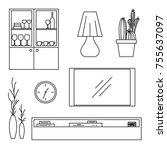 sketch set isolated furniture.... | Shutterstock .eps vector #755637097