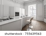 classic white apartment... | Shutterstock . vector #755639563