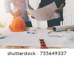 confident team of architect... | Shutterstock . vector #755649337