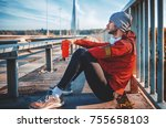jogging. young sportsman siting ... | Shutterstock . vector #755658103
