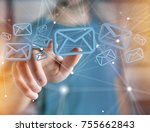 view of a blue email symbol... | Shutterstock . vector #755662843