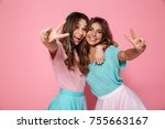 two female friends hugging and... | Shutterstock . vector #755663167