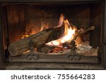 fire in the fireplace | Shutterstock . vector #755664283
