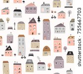 seamless cute town pattern | Shutterstock .eps vector #755667703