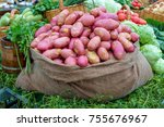 young potatoes in a bag | Shutterstock . vector #755676967