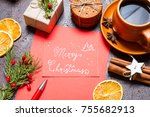 christmas holidays composition...   Shutterstock . vector #755682913