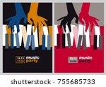 hands and piano keys vector... | Shutterstock .eps vector #755685733