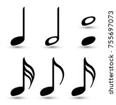 music note icons vector set ... | Shutterstock .eps vector #755697073
