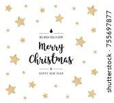 christmas scribble stars golden ...   Shutterstock .eps vector #755697877