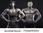 bodybuilding. beautiful sports... | Shutterstock . vector #755699593