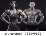 bodybuilding. beautiful sports... | Shutterstock . vector #755699593