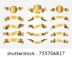 golden ribbon banners.vector... | Shutterstock .eps vector #755706817